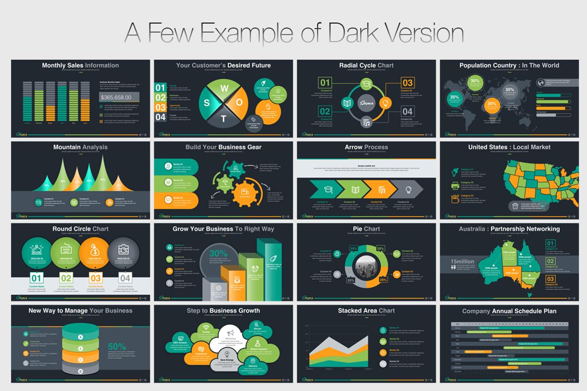 20 Premium PowerPoint and Keynote Templates - 10 Dark version powerpoint