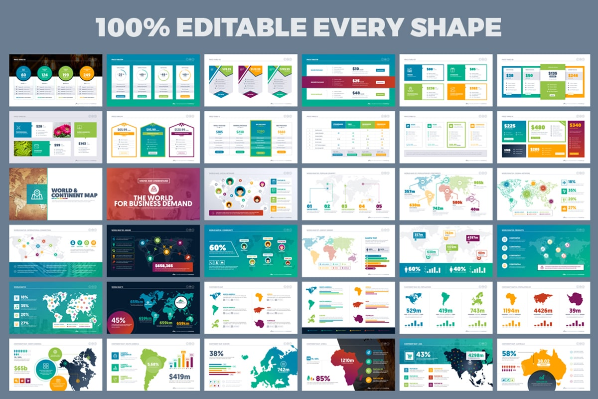 20 Premium PowerPoint and Keynote Templates - 11 100  Editable every shape powerpoint presentation design min
