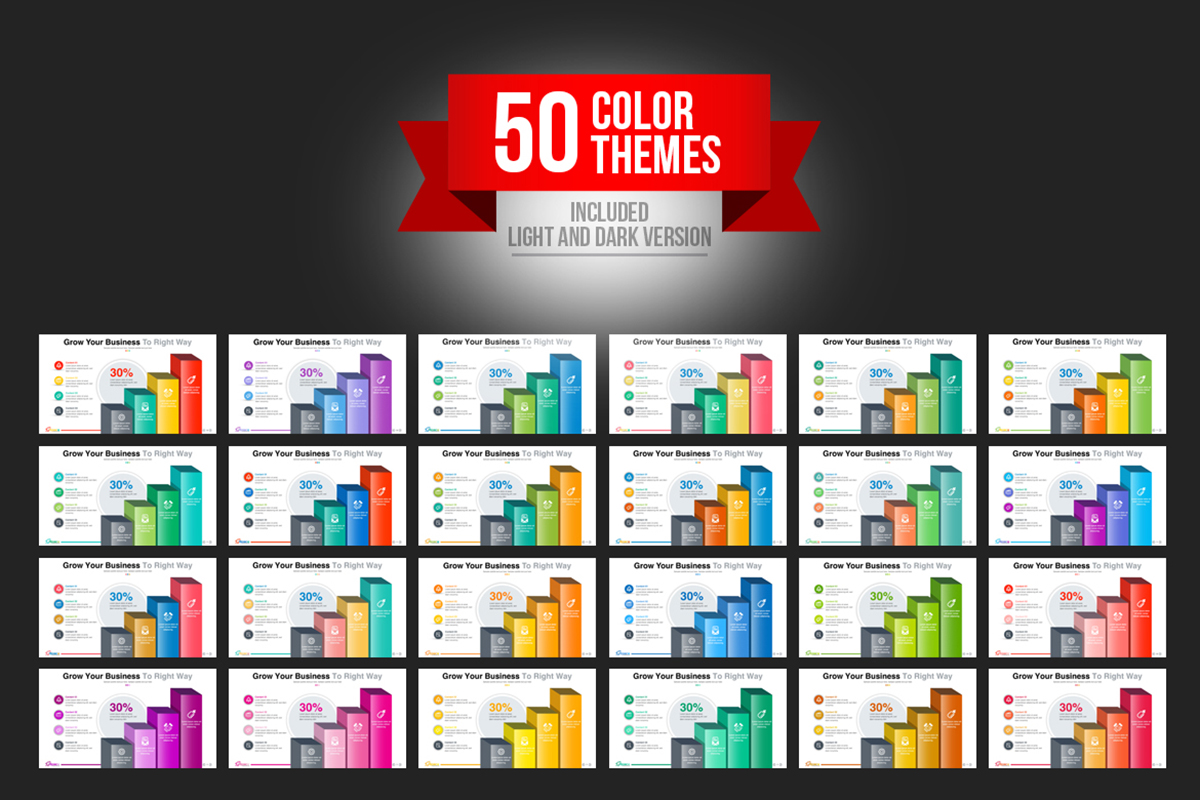 20 Premium PowerPoint and Keynote Templates - 11 50 Color variation startup Business PowerPoint Presentation Template