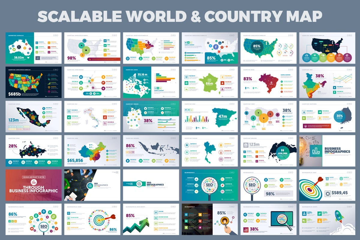 20 Premium PowerPoint and Keynote Templates - 12 Scalable World and country map presentation min