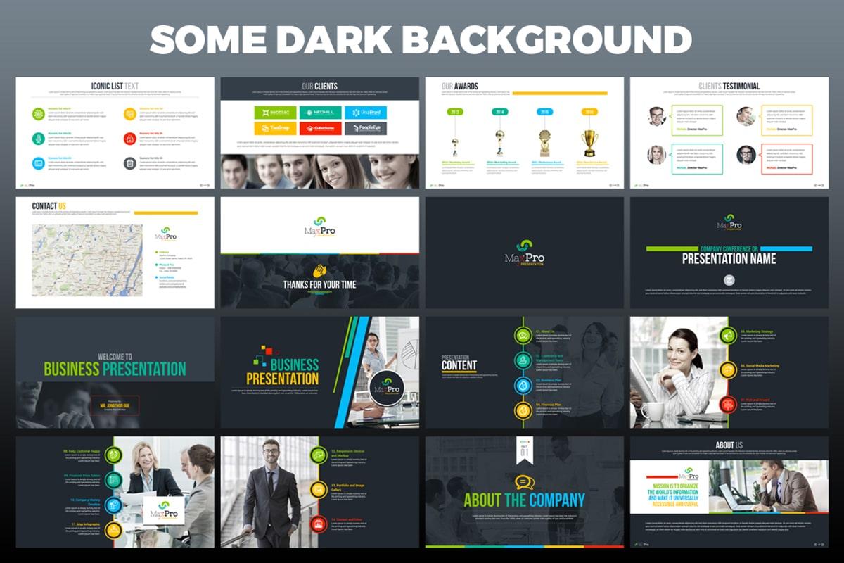 20 Premium PowerPoint and Keynote Templates - 13 Dark background powerpoint presentation design template min