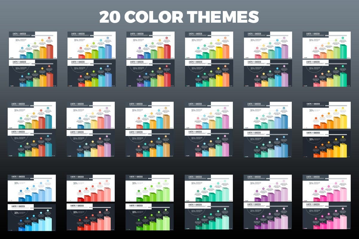 20 Premium PowerPoint and Keynote Templates - 14 Color themes min