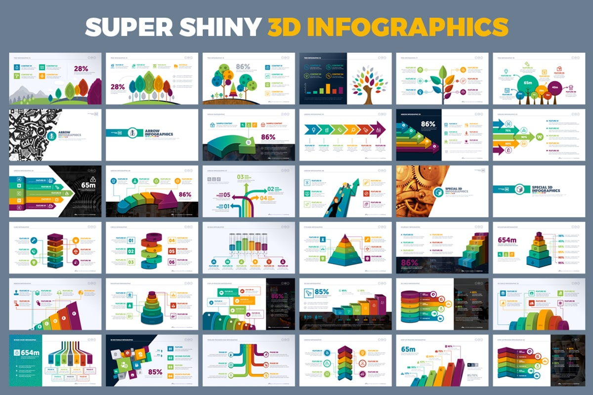 20 Premium PowerPoint and Keynote Templates - 14 Super Shiny 3D Infographics powerpoint presentation min