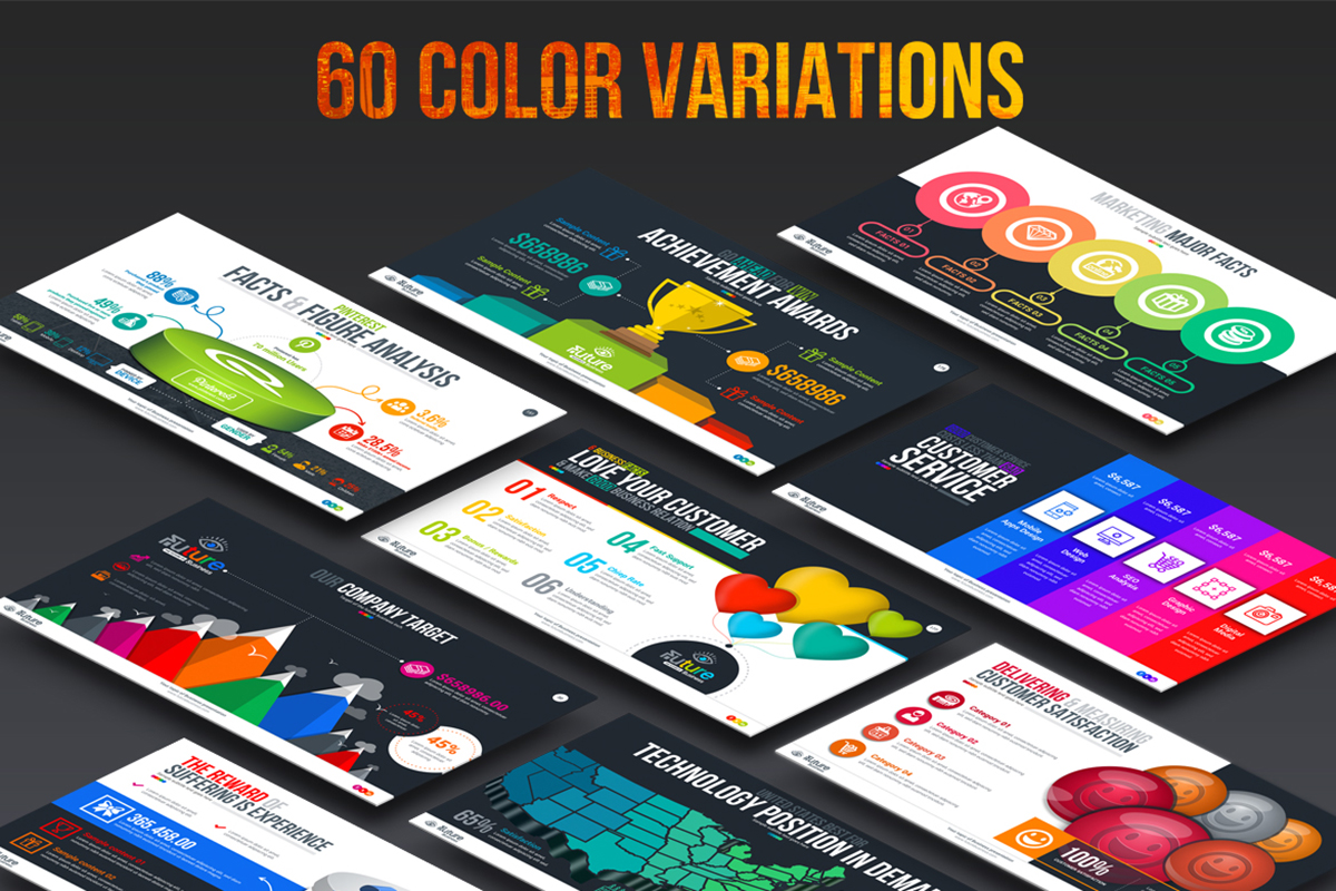 20 Premium PowerPoint and Keynote Templates - 19 60 Color variation include powerpoint