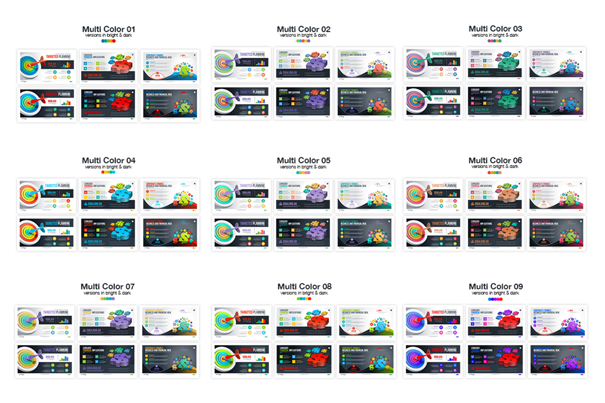 20 Premium PowerPoint and Keynote Templates - 20 Colors variation powerpoint presentation template