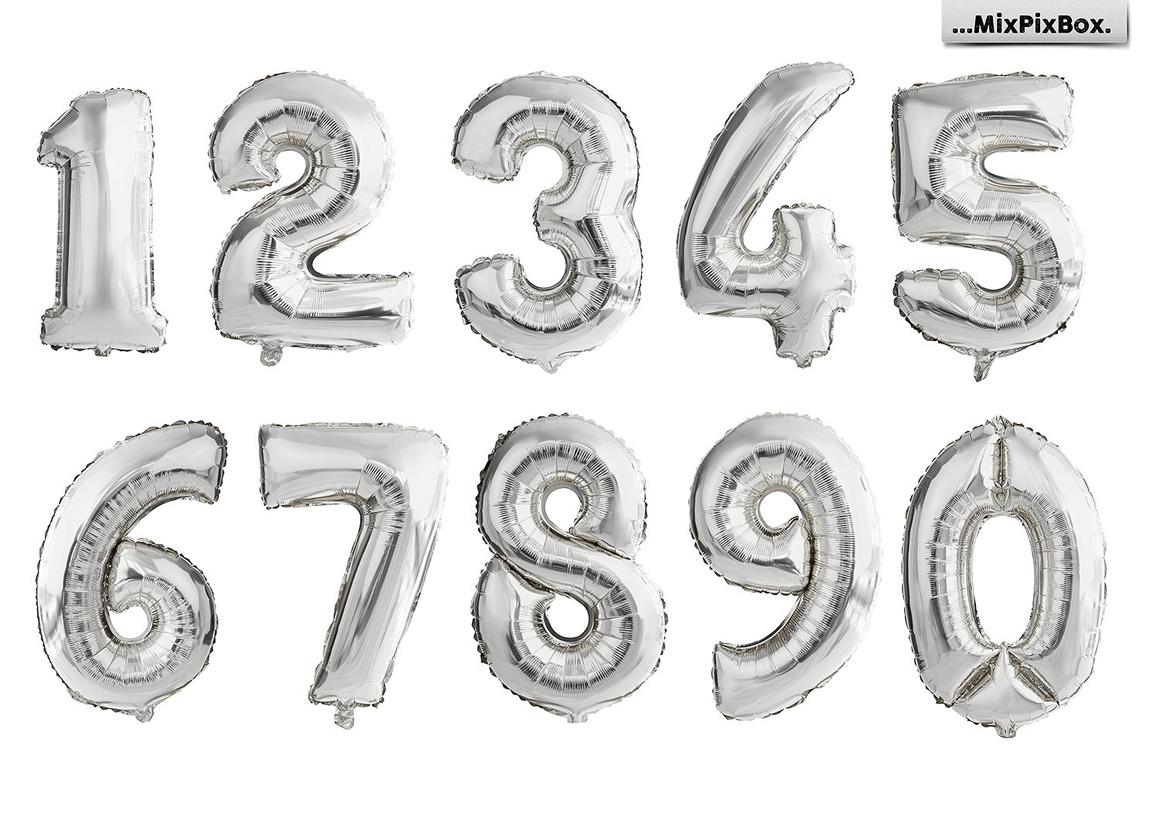 27 Balloon Numbers Overlays