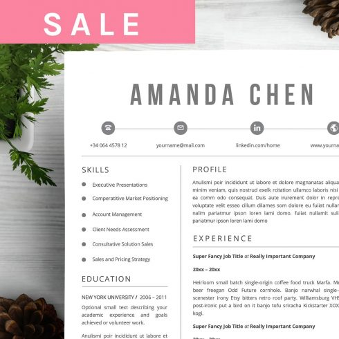 Creative Resume Template Word - $9 - 600 22 490x490
