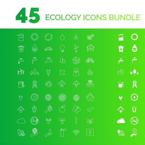 45 Renewable Energy Ecology Icons Set - $6 - 600 24 490x490