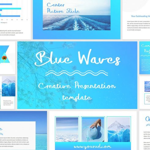 Blue Waves - PowerPoint Template - $15 - 600 26 490x490