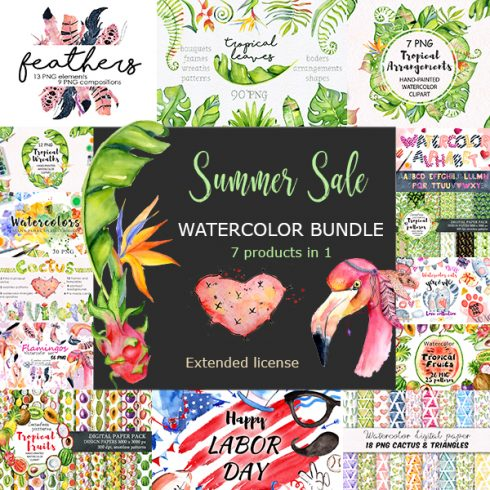 Summer Sale Watercolor Bundle 80%OFF! - Cover main 01 490x490