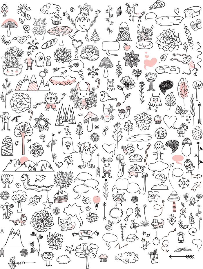 360+ Vector Elements - $5 - Doodles