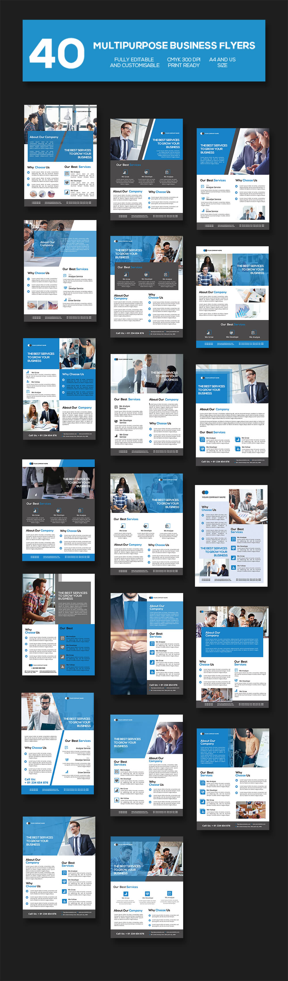 1400 Multipurpose Business Flyer Templates - $15 [extended license] - PREVIEW 1