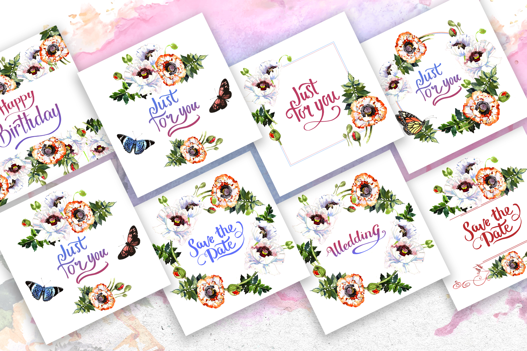 White poppies PNG watercolor set