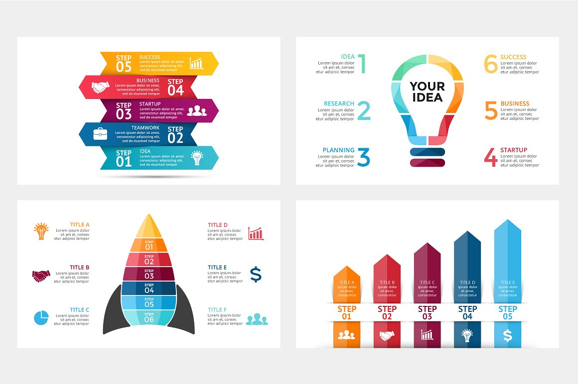 23 StartUP infographics: PPT, PPTX, KEY, PSD, EPS, AI
