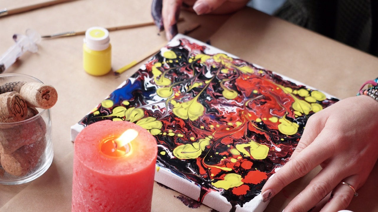 Fluid Art Painting in 2020.  Acrylic Fluid Art Tutorial and Gift Box for Beginners - photo 2019 04 08 21.39.35 min