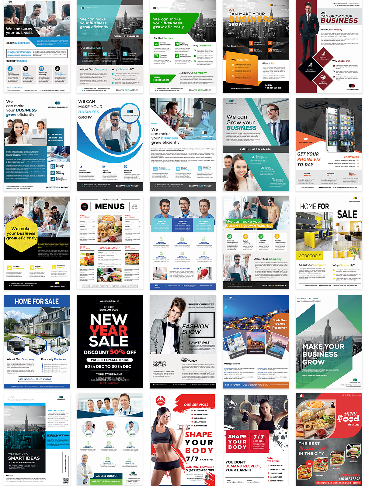 1400 Multipurpose Business Flyer Templates - $15 [extended license] - previews 4