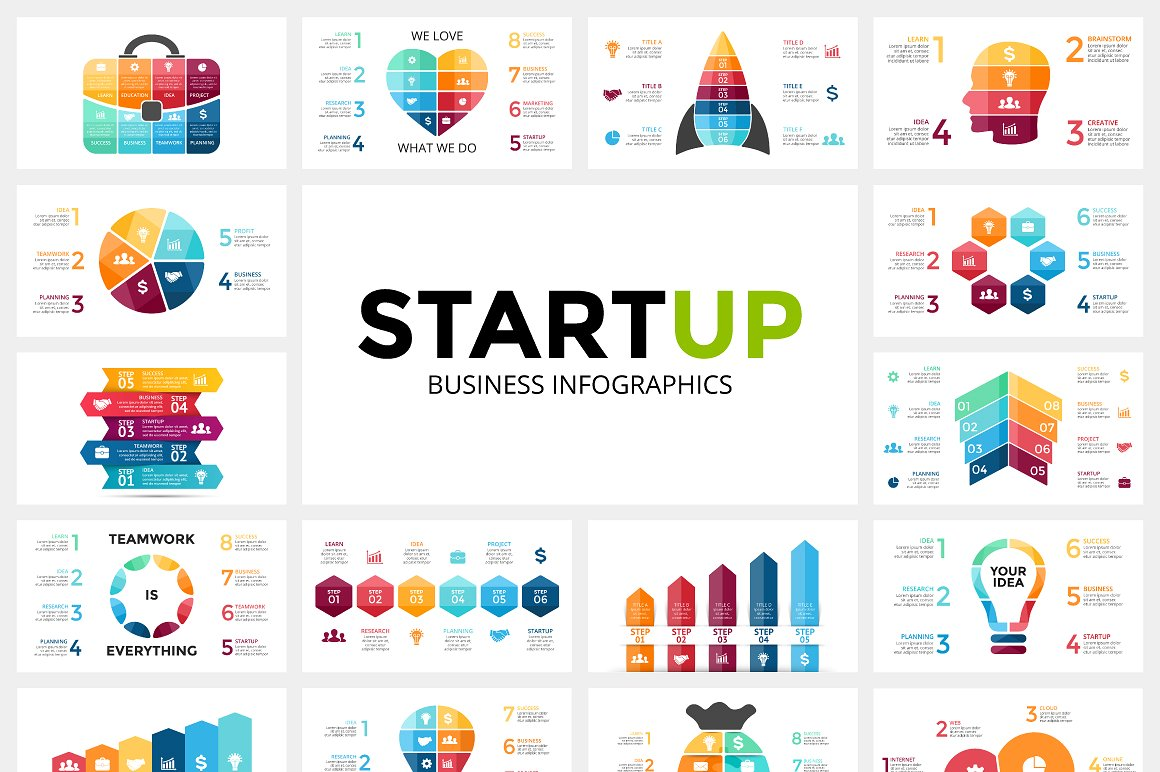 23 StartUP infographics: PPT, PPTX, KEY, PSD, EPS, AI - $10 - startup