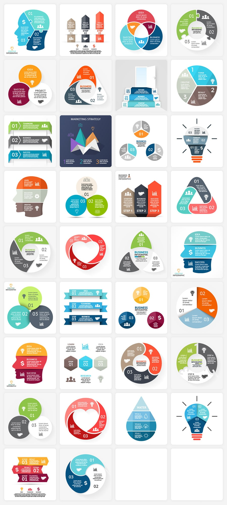 340  Financial Infographics Bundle |  PRO Infographics PSD AI EPS - 3 steps min