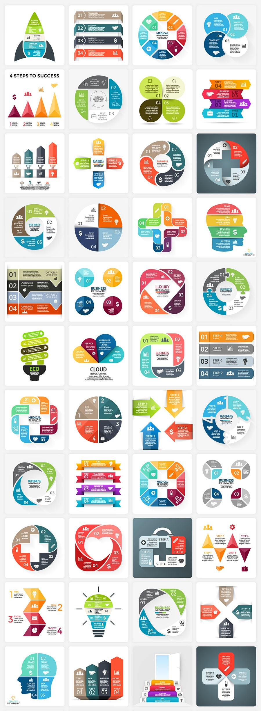340  Financial Infographics Bundle |  PRO Infographics PSD AI EPS - 4 steps min