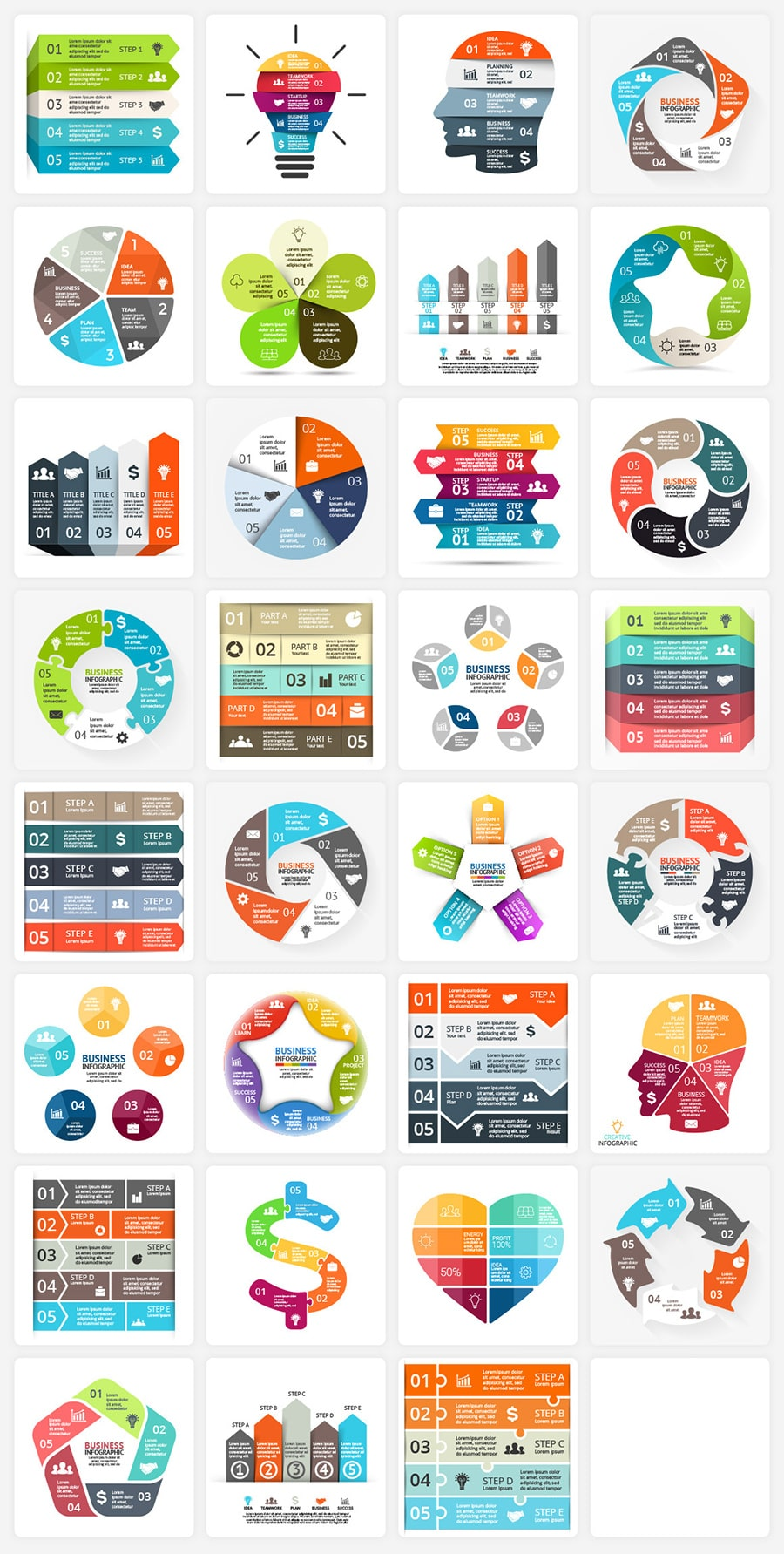 340  Financial Infographics Bundle |  PRO Infographics PSD AI EPS - 5 steps copy min