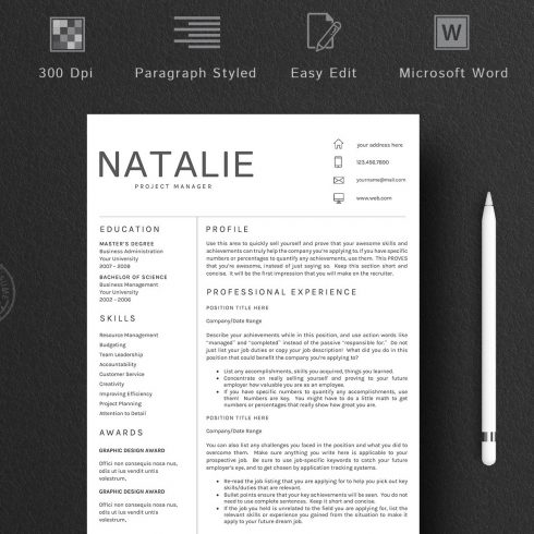 Resume Word Template 5 Pages/CV [DOC, PDF] - $9 - 600 490x490
