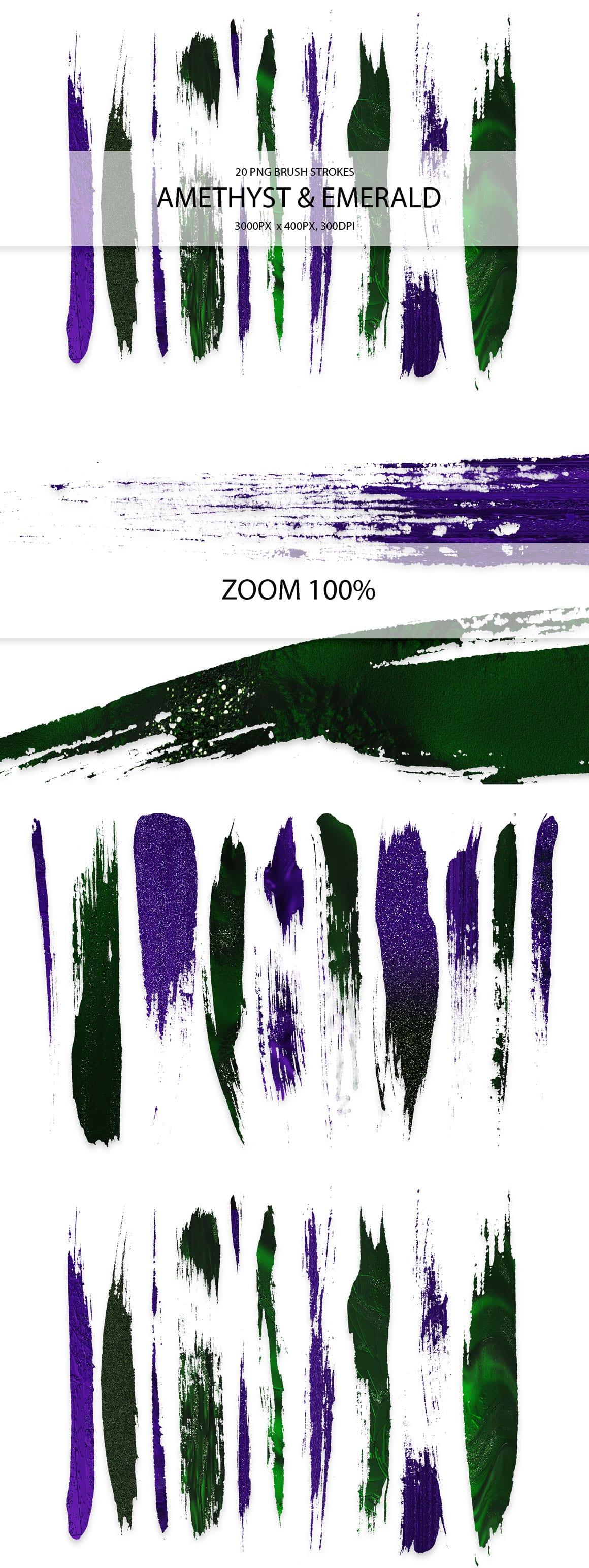 829 Acrylic Brush Strokes and Digital Brush Strokes - $9 - AmethystEmeraldStrokes 01 min