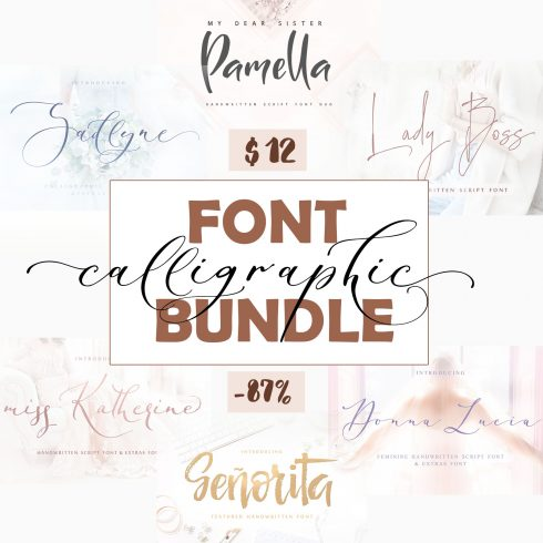 Calligraphy Font Bundle - $12 ONLY - Calligraphic fonts bandl 2018 ins 12 490x490
