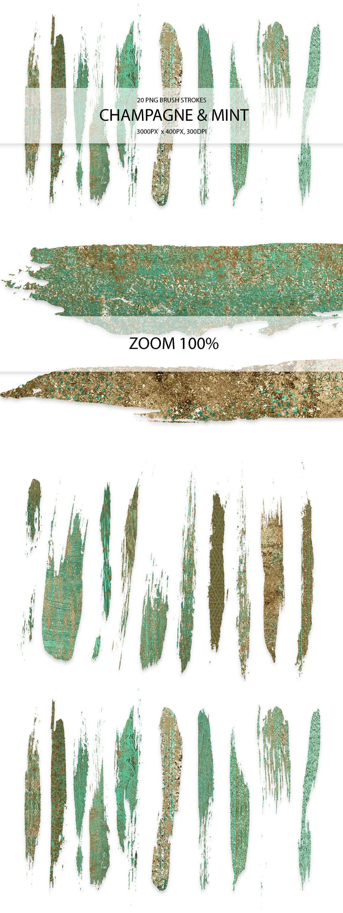 829 Acrylic Brush Strokes and Digital Brush Strokes - $9 - ChampagneMintStrokes 01 min