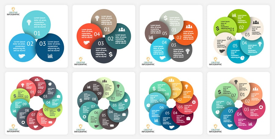 Creative and flexible infographics with round shapes.