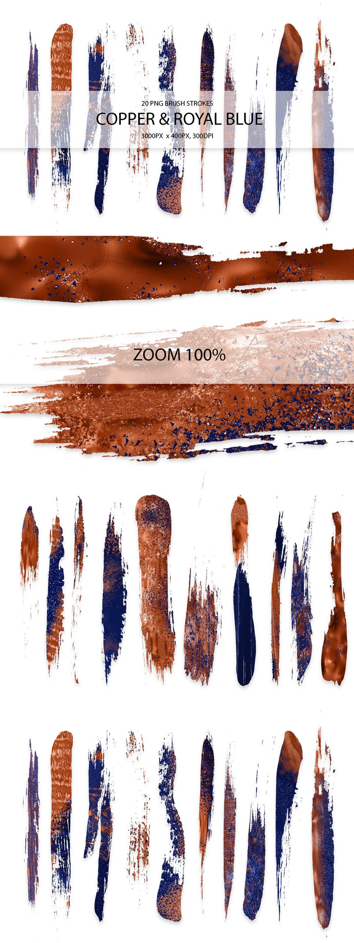 829 Acrylic Brush Strokes and Digital Brush Strokes - $9 - CopperRoyalBlueStrokes 01 min