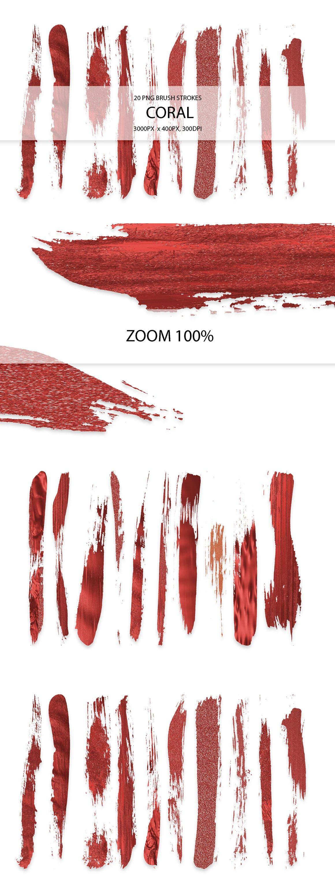 829 Acrylic Brush Strokes and Digital Brush Strokes - $9 - CoralStrokes 01 min