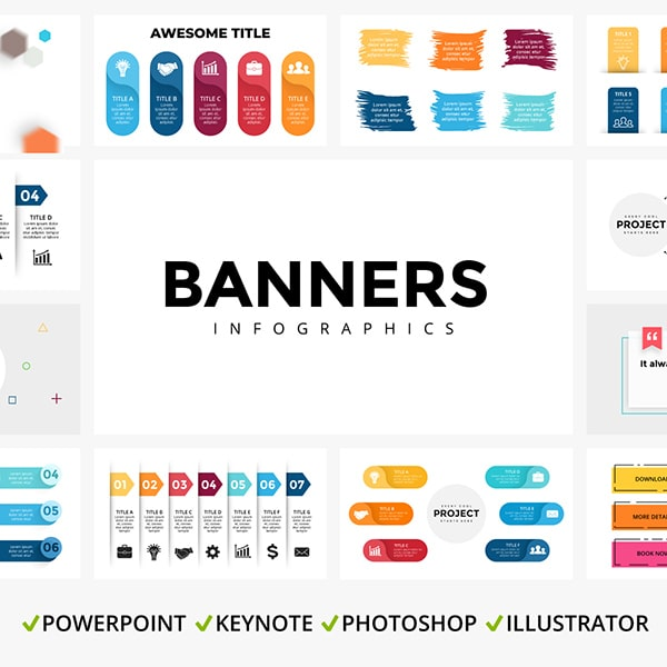 25 Banner Infographic Templates - main cover image.