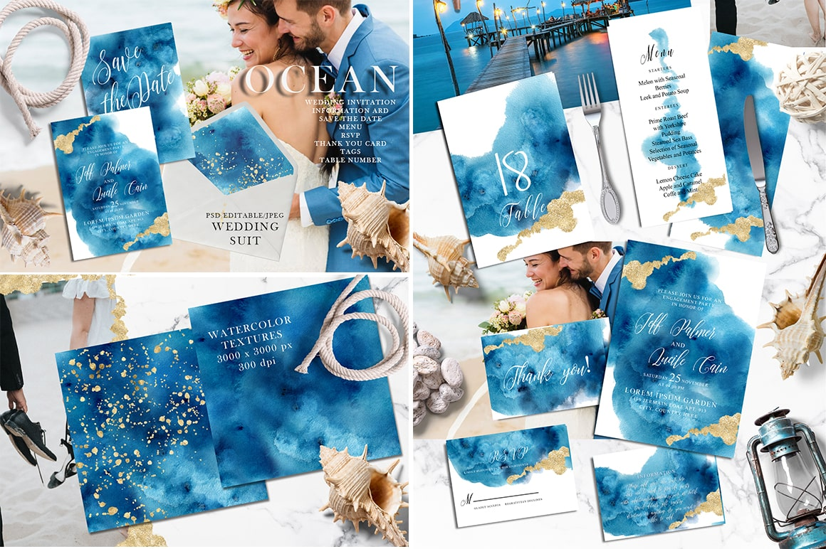 Watercolor Wedding Invitations Suits