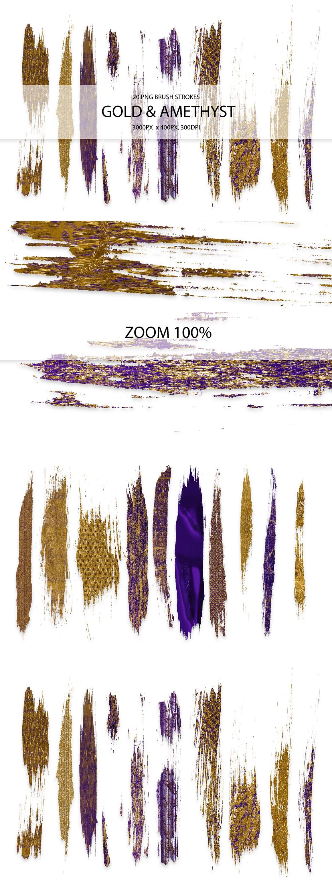 829 Acrylic Brush Strokes and Digital Brush Strokes - $9 - GoldAmethystStrokes 01 min
