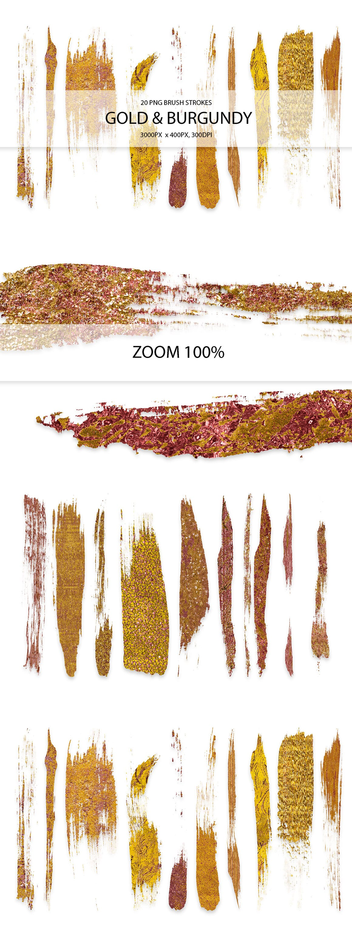 829 Acrylic Brush Strokes and Digital Brush Strokes - $9 - GoldBurgundyStrokes 01 min