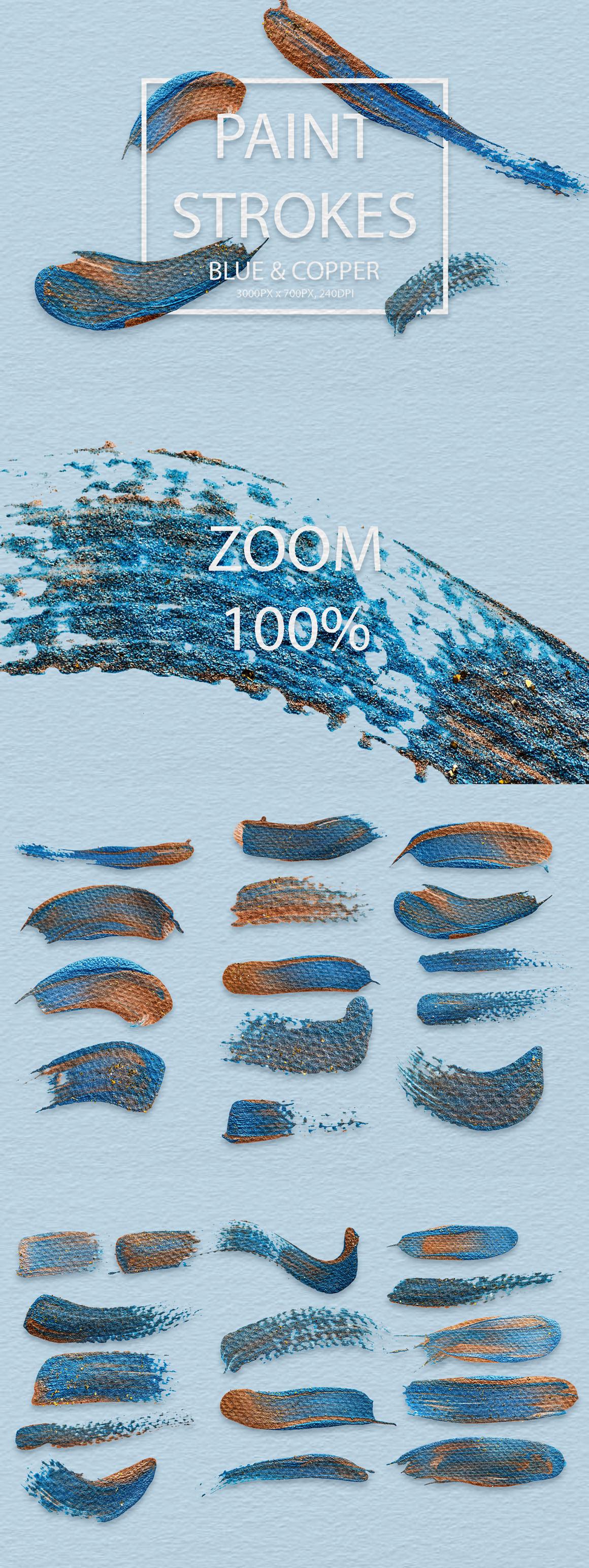 829 Acrylic Brush Strokes and Digital Brush Strokes - $9 - PaintStrokesBlueCopper 01 min