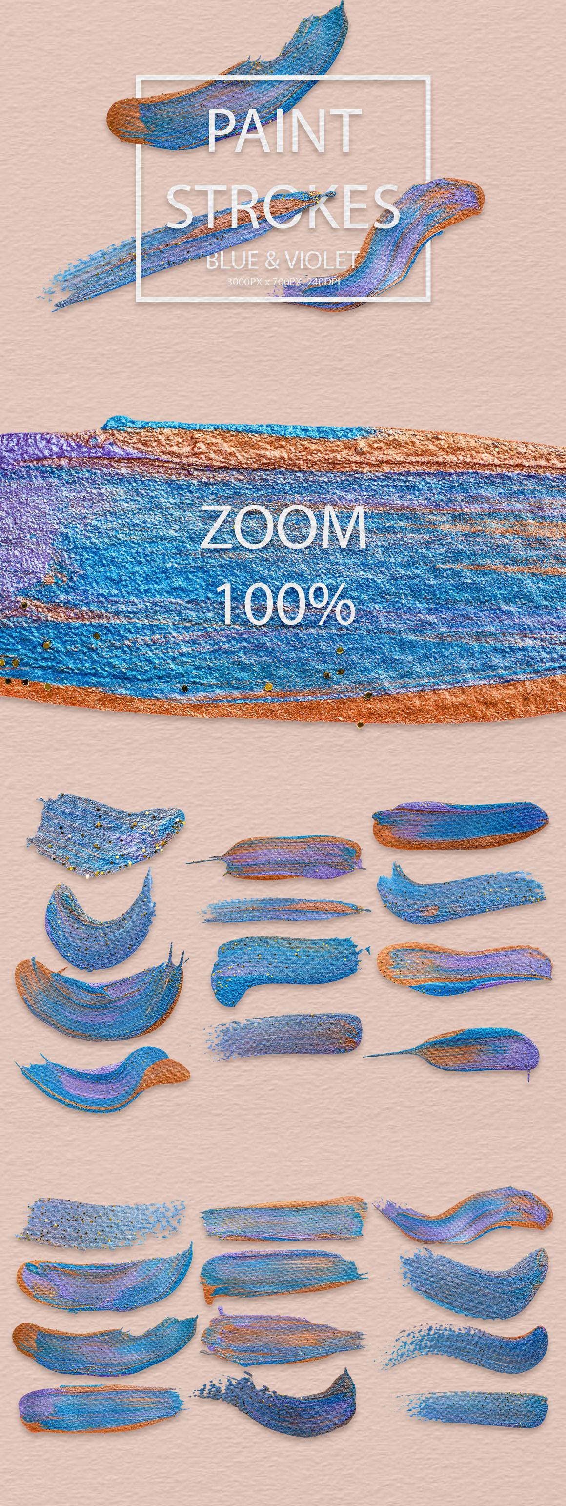 829 Acrylic Brush Strokes and Digital Brush Strokes - $9 - PaintStrokesBlueViolet 01 min