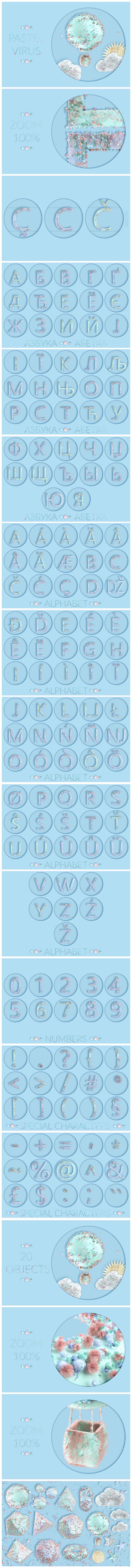 Huge Graphic Bundle Alphabet with 1000+ elements - $25 - PastelVirus min