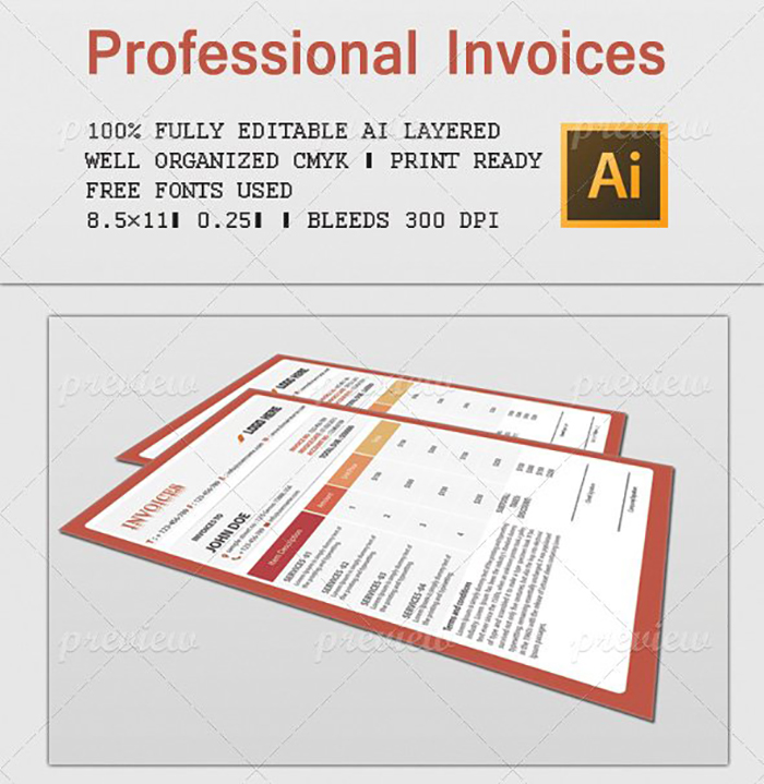 Ultimate Print Templates Bundle with 130 Items - Only $19 - codegrape 1809 professional invoices 2 small