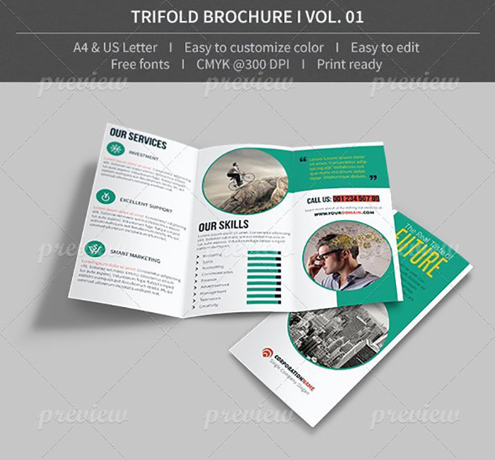 Ultimate Print Templates Bundle with 130 Items - Only $19 - codegrape 3877 trifold brochure volume 01 small