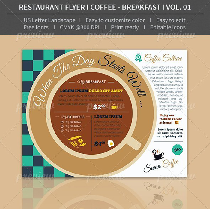 Ultimate Print Templates Bundle with 130 Items - Only $19 - codegrape 4114 restaurant flyer coffee breakfast volume 01 small