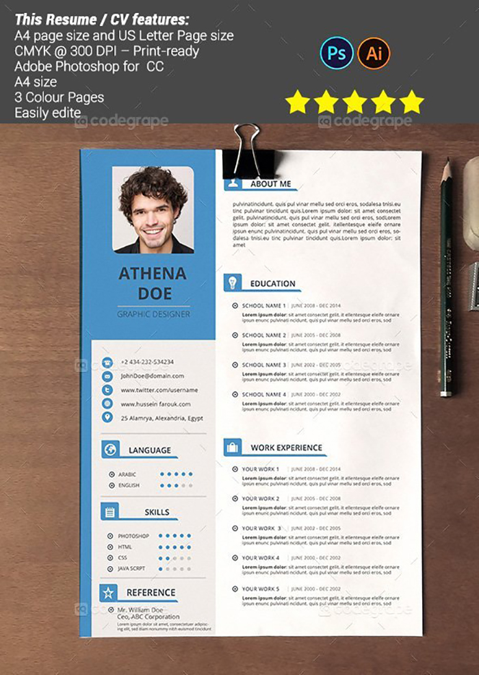 Ultimate Print Templates Bundle with 130 Items - Only $19 - codegrape 5455 resume cv small