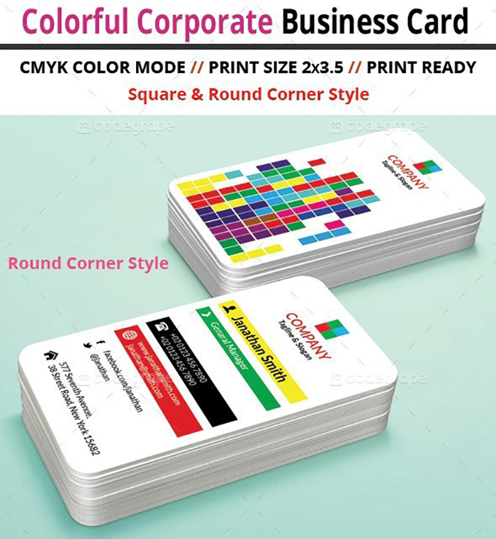 Ultimate Print Templates Bundle with 130 Items - Only $19 - codegrape 5922 colorful corporate business card small