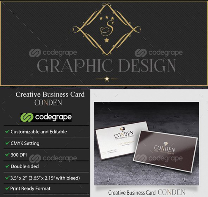 Ultimate Print Templates Bundle with 130 Items - Only $19 - codegrape 6158 creative business card conden small
