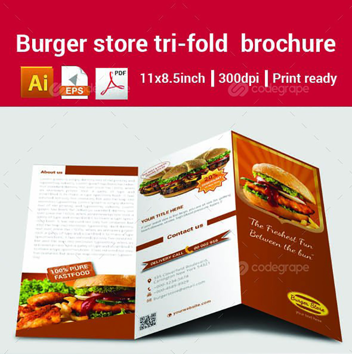Ultimate Print Templates Bundle with 130 Items - Only $19 - codegrape 6298 burger store tri fold brochure small