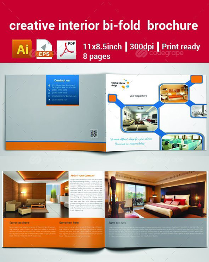 Ultimate Print Templates Bundle with 130 Items - Only $19 - codegrape 6313 creative interior bi fold brochure small