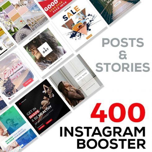 Instagram Booster Set: 400 Instagram Post And Stories Templates - cover masterbundles 1 490x490