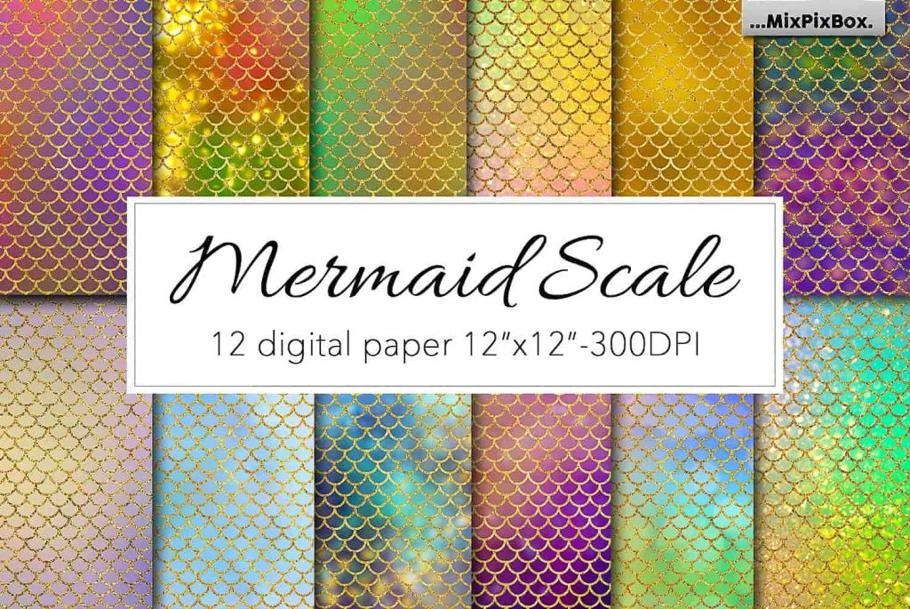 Mermaid Scale Digital Paper