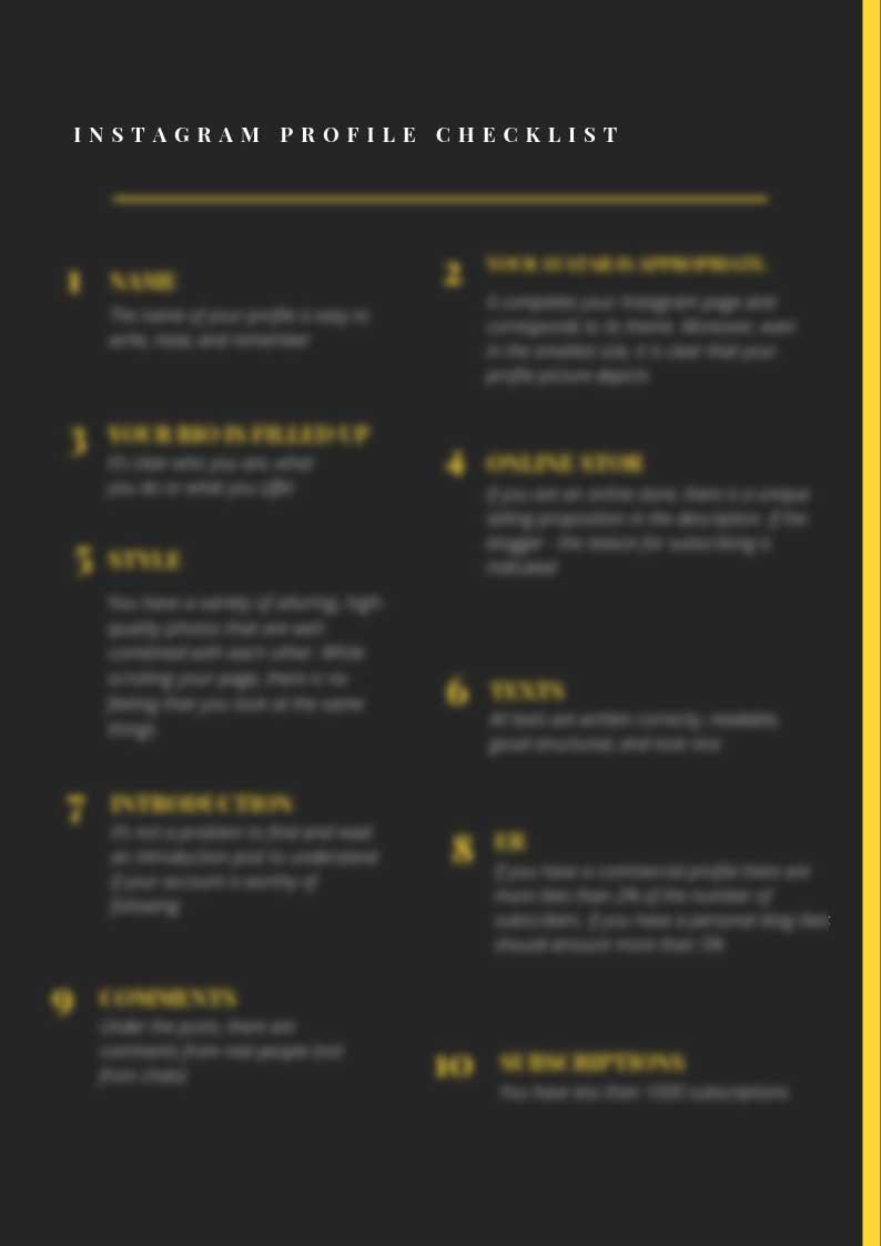 Free Instagram Profile Checklist