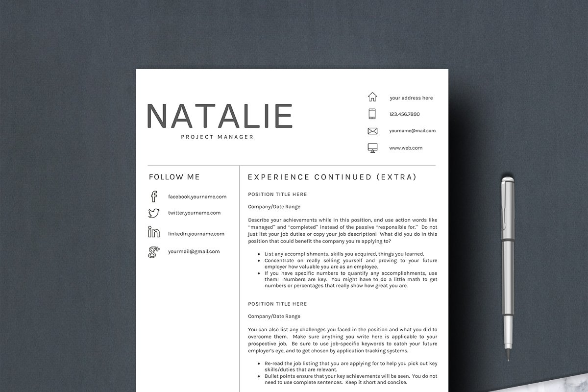 Resume Word Template 5 Pages/CV [DOC, PDF]